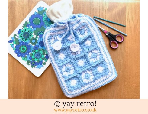 152: Crochet Sparkly Snowflake Hot Water Bottle Set New (£18.50)